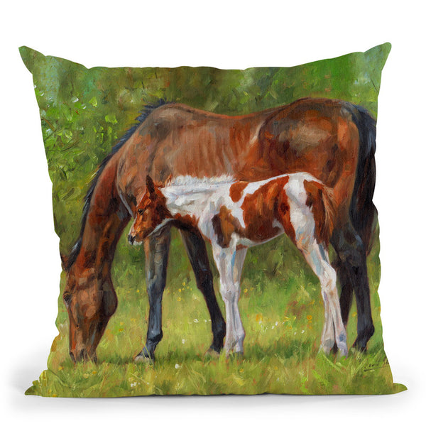 Horse And Foal Grazing Throw Pillow By David Stribbling