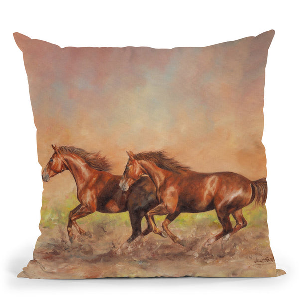 Horses I Throw Pillow By David Stribbling