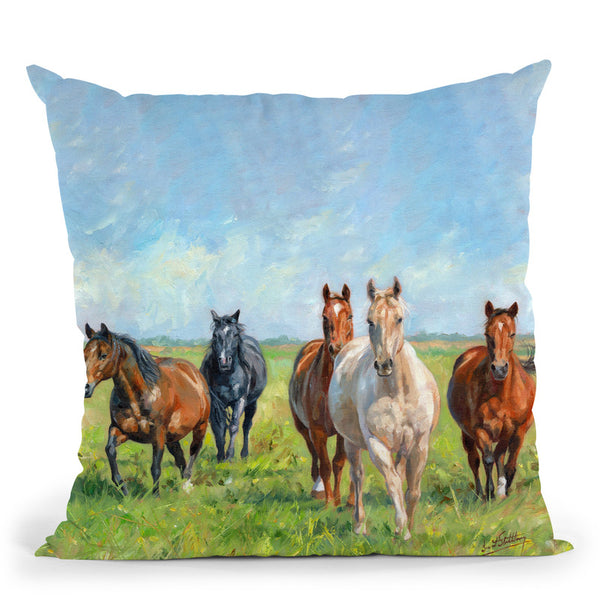 Horses In A Field Throw Pillow By David Stribbling