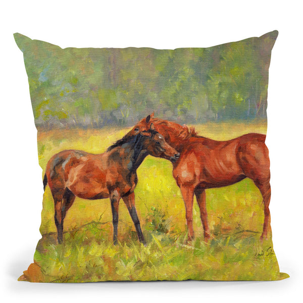 Horses Study Throw Pillow By David Stribbling