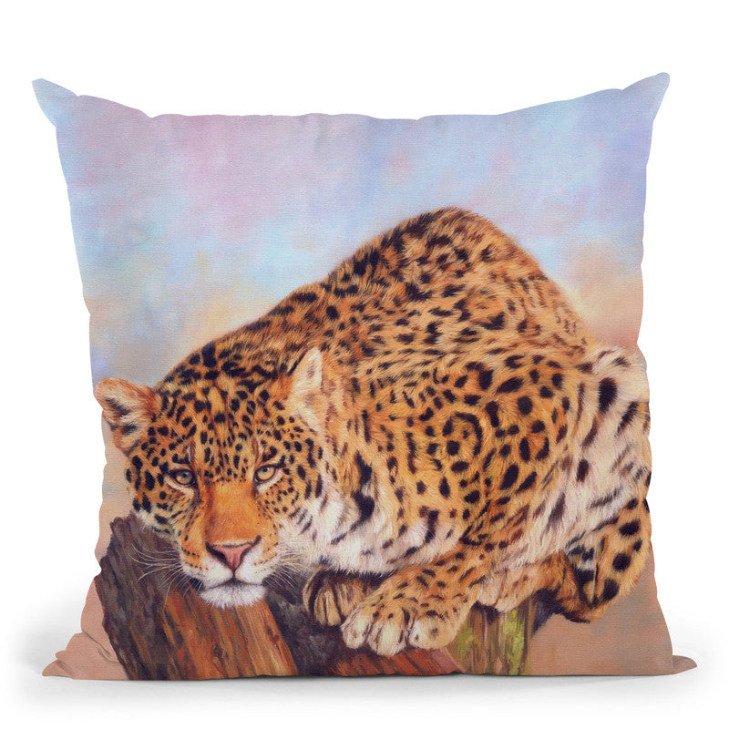 Jaguar On Tree Stump Throw Pillow By David Stribbling