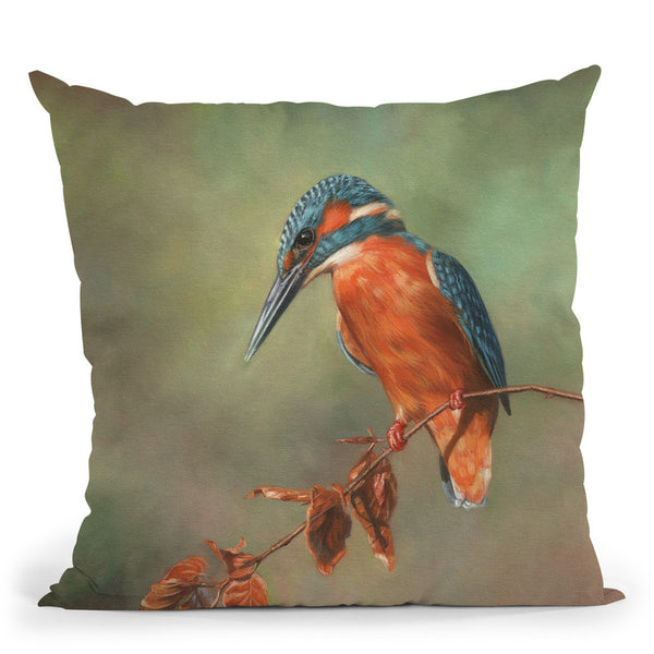 Kingfisher Perched Throw Pillow By David Stribbling