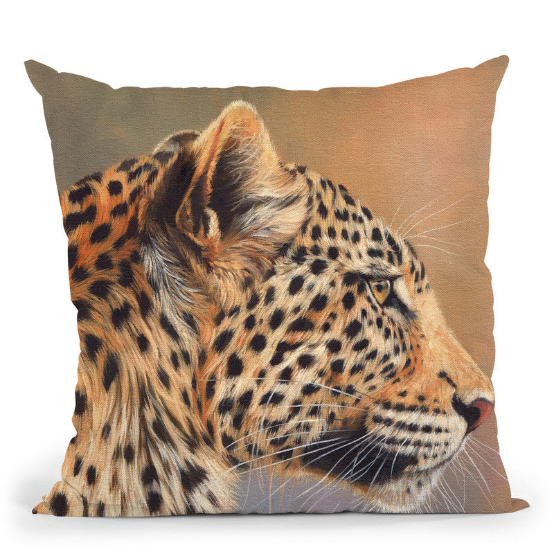 Leopard Profile I Throw Pillow By David Stribbling