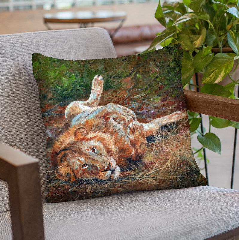 Lion On Back Throw Pillow By David Stribbling