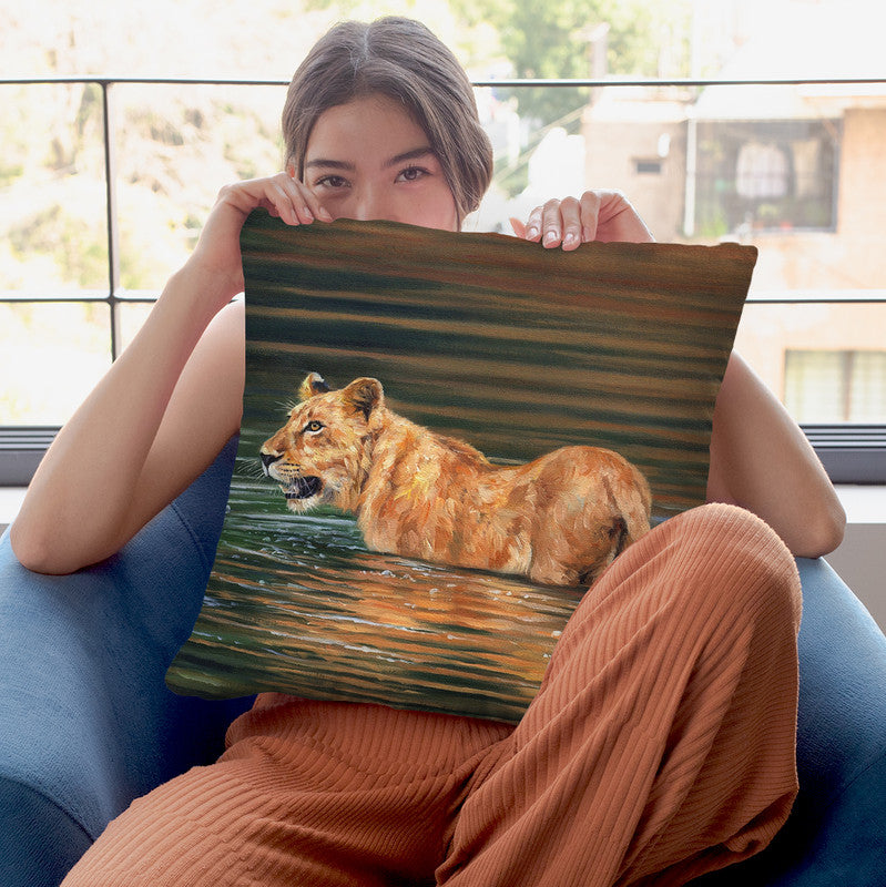 Lioness Water Throw Pillow By David Stribbling