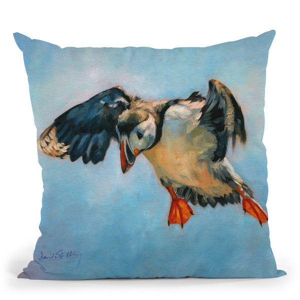 Puffin Throw Pillow By David Stribbling
