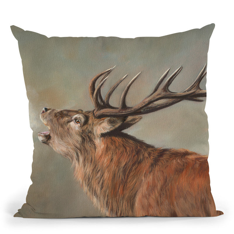 Red Deer Iii Throw Pillow By David Stribbling