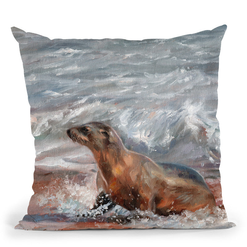 Sea Lion Throw Pillow By David Stribbling