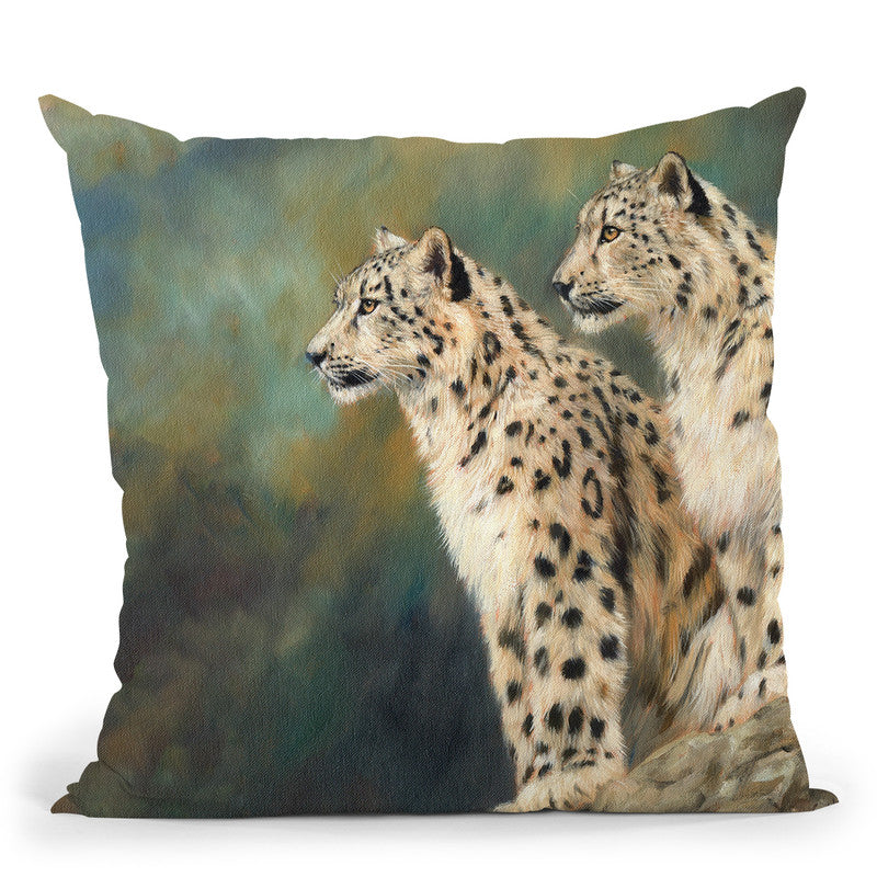 Snow Leopards Rock Throw Pillow By David Stribbling