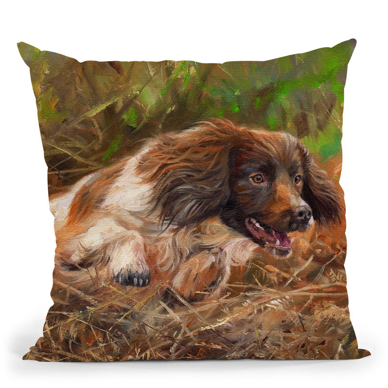 Springer Throw Pillow By David Stribbling