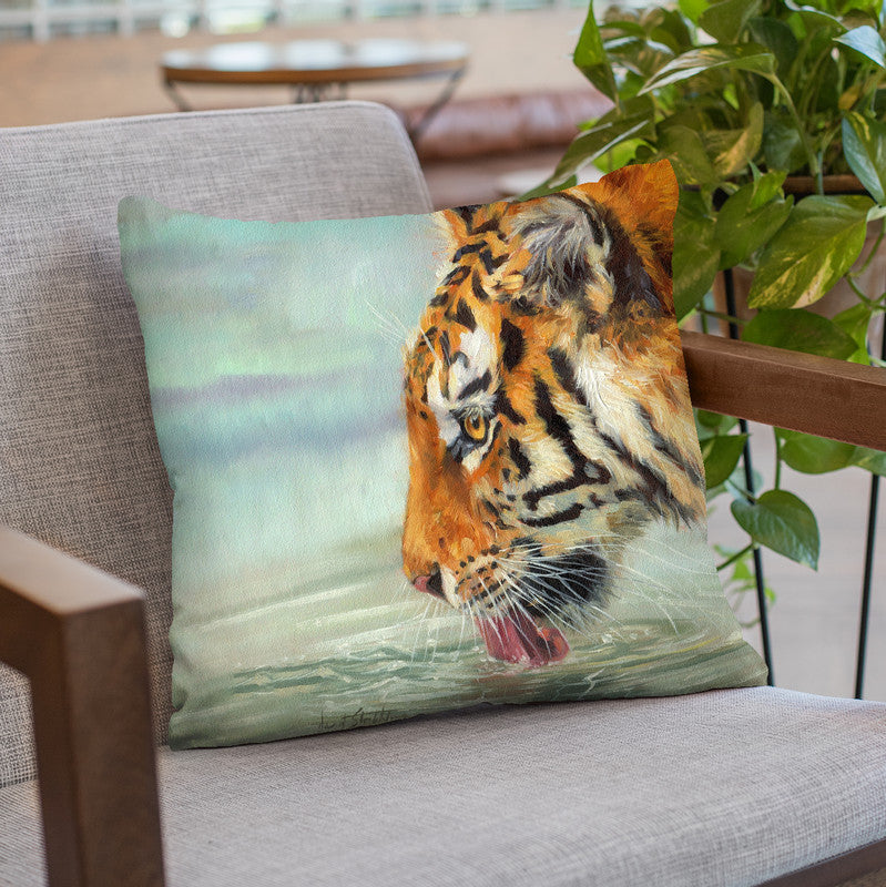 Tiger Drinking I Throw Pillow By David Stribbling