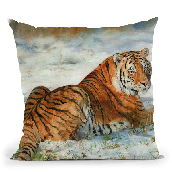 Tiger In Snow Throw Pillow By David Stribbling