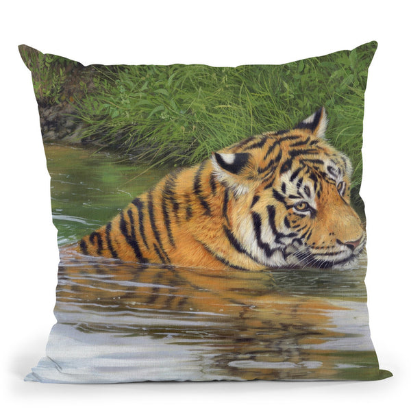 Tiger In Water I Throw Pillow By David Stribbling
