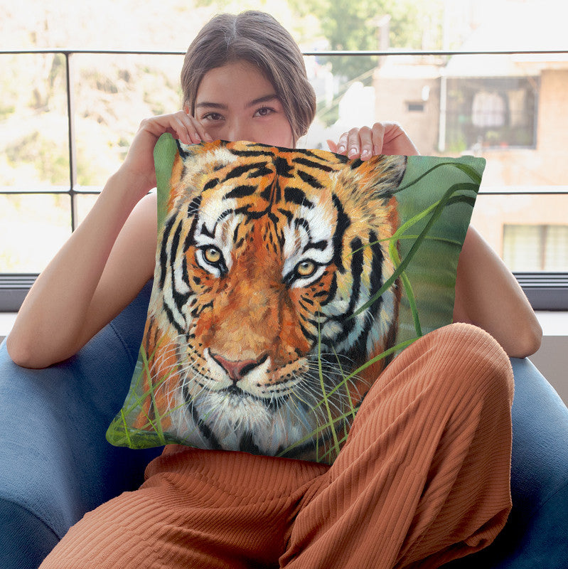 Tiger Iv Throw Pillow By David Stribbling
