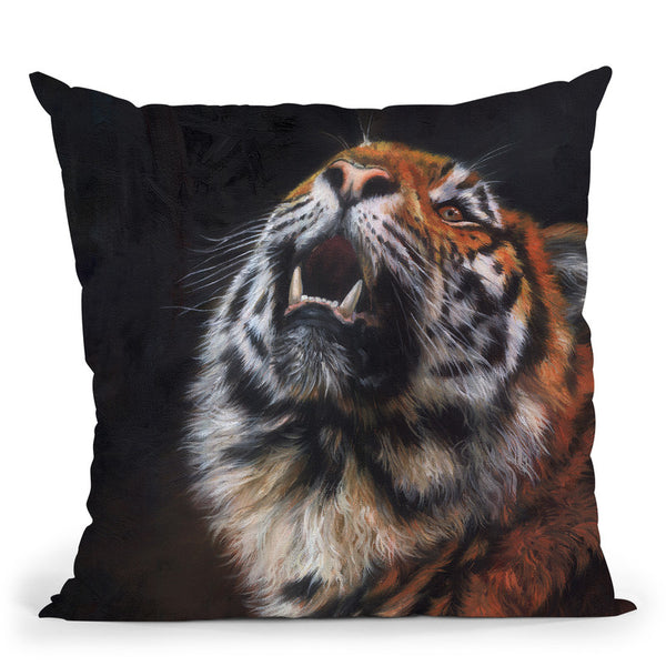 Tiger Looking Up Throw Pillow By David Stribbling