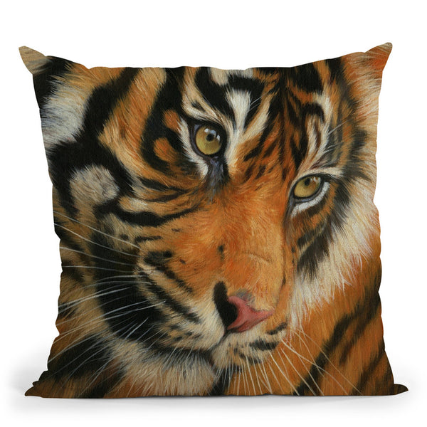 Tiger Portrait Ii Throw Pillow By David Stribbling