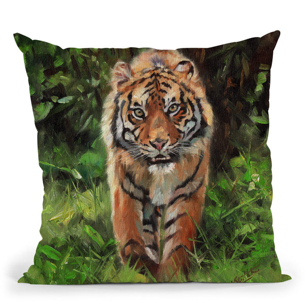 Tiger Prowl Throw Pillow By David Stribbling