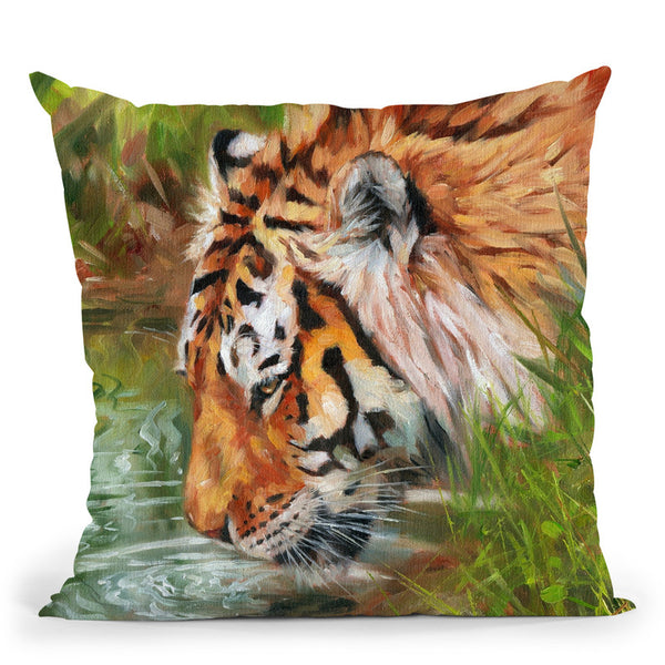 Tiger Quenching Thirst Throw Pillow By David Stribbling