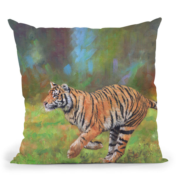 Tiger Running Throw Pillow By David Stribbling