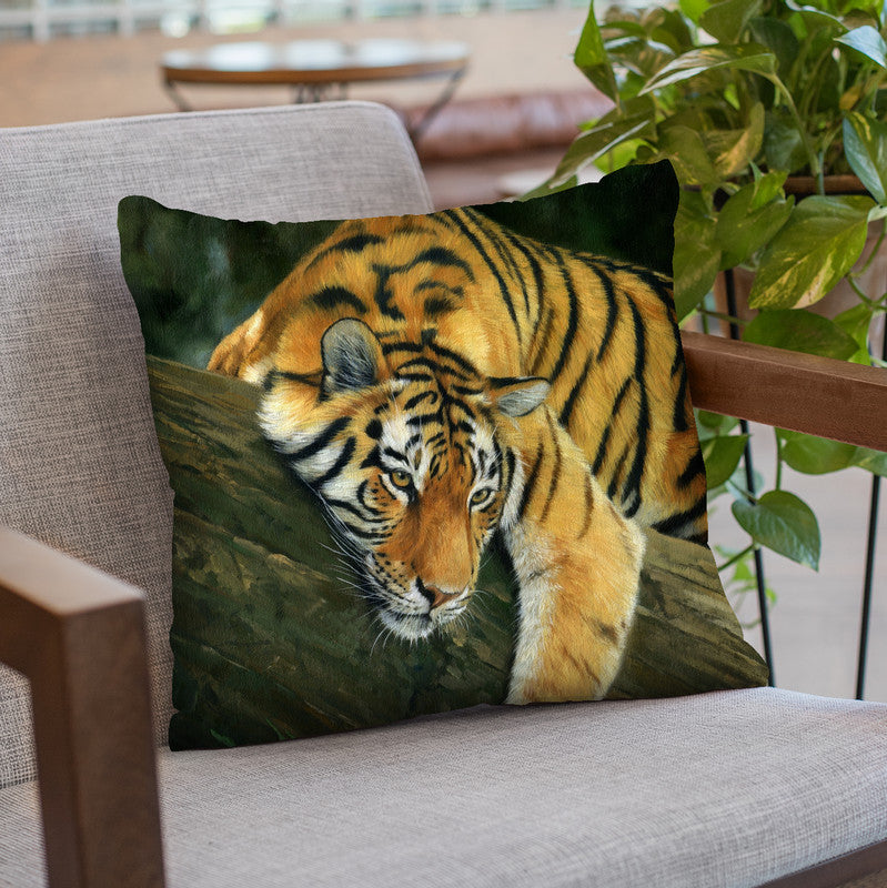 Tiger Tree Branch Throw Pillow By David Stribbling