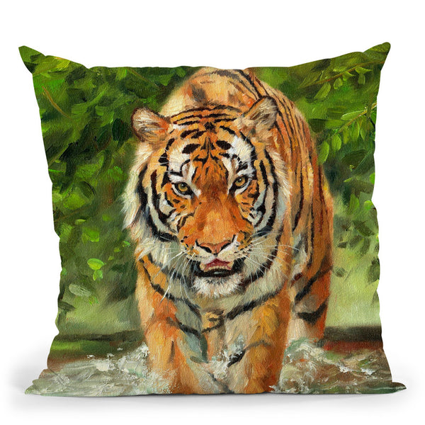 Tiger V Throw Pillow By David Stribbling