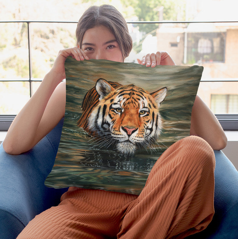 Tiger Water Swimming Throw Pillow By David Stribbling