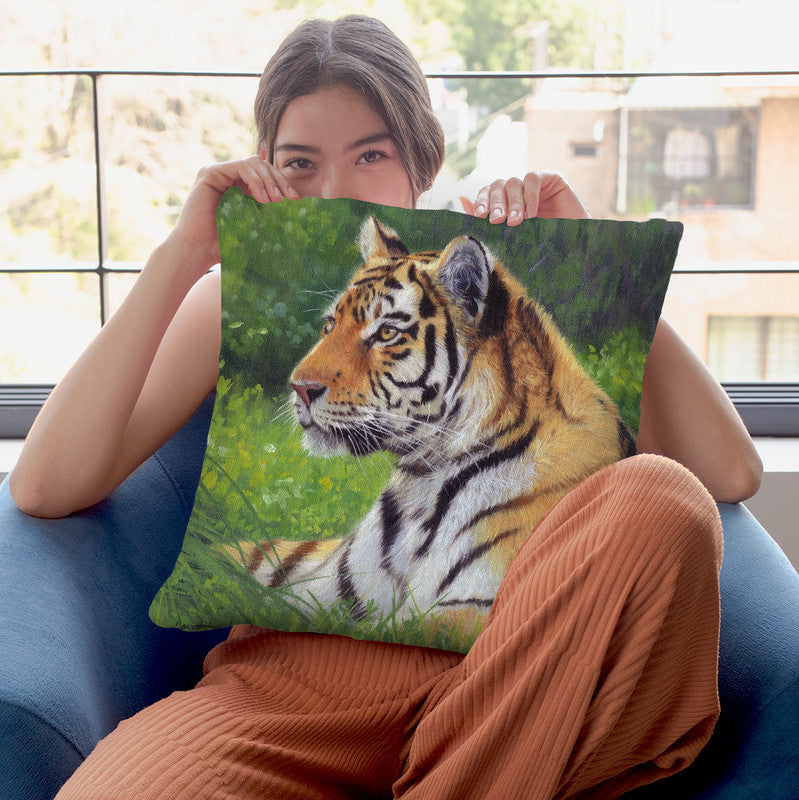 Tiger Grass Throw Pillow By David Stribbling