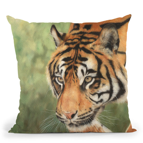 Tiger Hunt Throw Pillow By David Stribbling