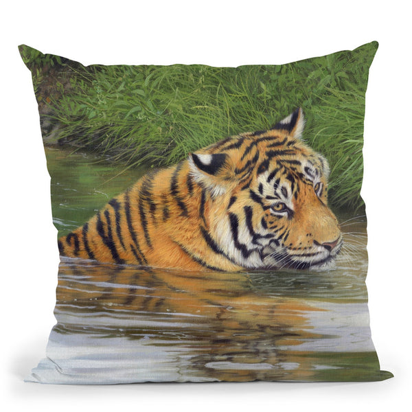 Tiger Water I Throw Pillow By David Stribbling