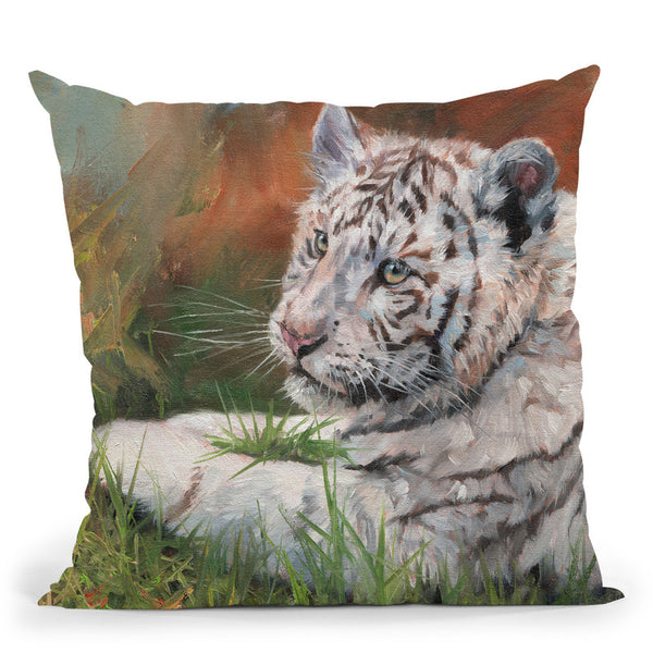 White Tiger Cub Laying Down Throw Pillow By David Stribbling