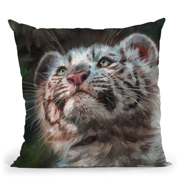 White Tiger Cub Portrait Throw Pillow By David Stribbling