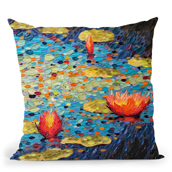Prismacolor Pond Of Joy Throw Pillow By Dena Tollefson