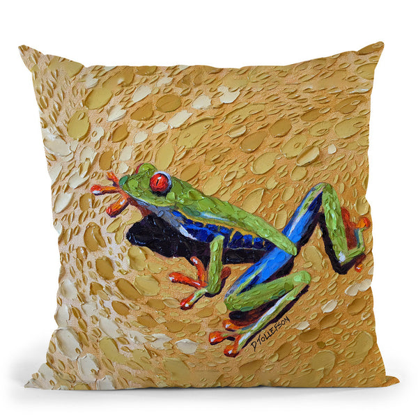 Toadly Awesome Frog Throw Pillow By Dena Tollefson