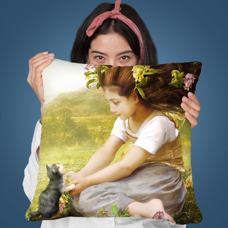 Little Kitty Throw Pillow By Diogo Verissimo