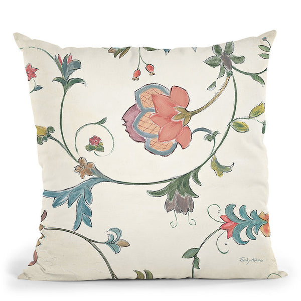 Birds Gem Floral I Throw Pillow By Emily Adams