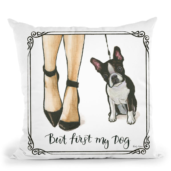 Furry Fashion Friends Ii But First Throw Pillow By Emily Adams