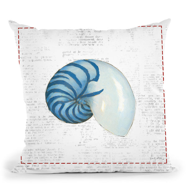 Navy Nautilus Throw Pillow By Emily Adams