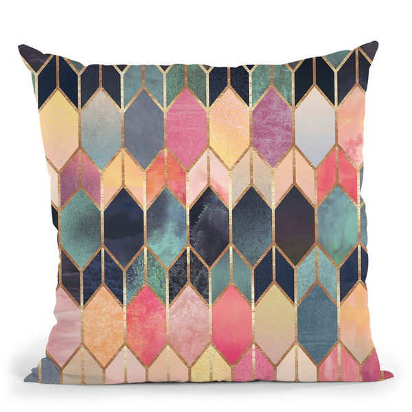 Colorful Stained Glass Throw Pillow By Elisabeth Fedrikson
