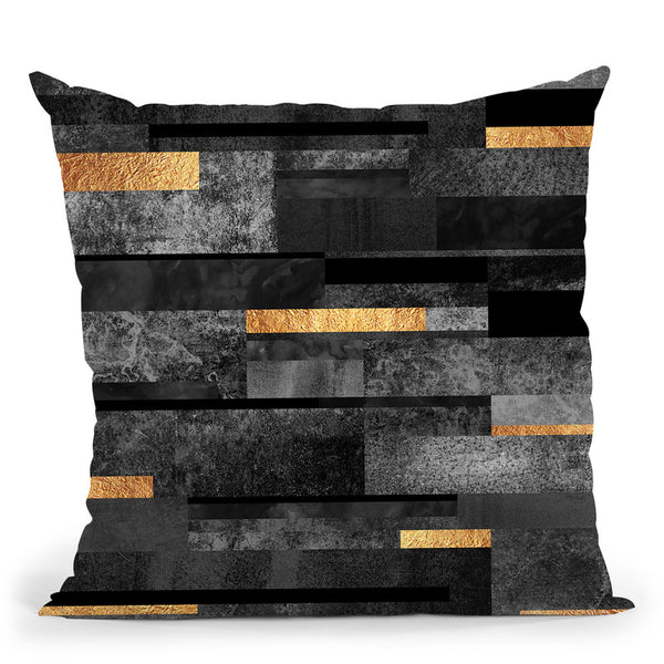 Urban Black And Gold Throw Pillow By Elisabeth Fedrikson
