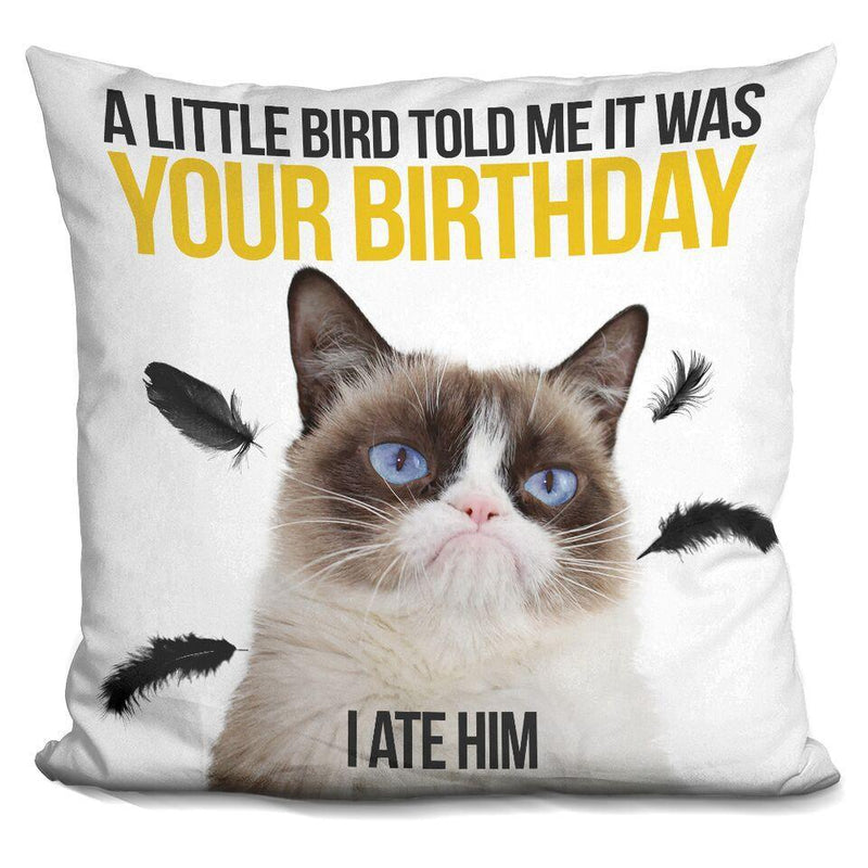 A little bird told me it was your birthday. I ate him Pillow