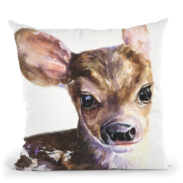 Deer Baby Throw Pillow By George Dyachenko