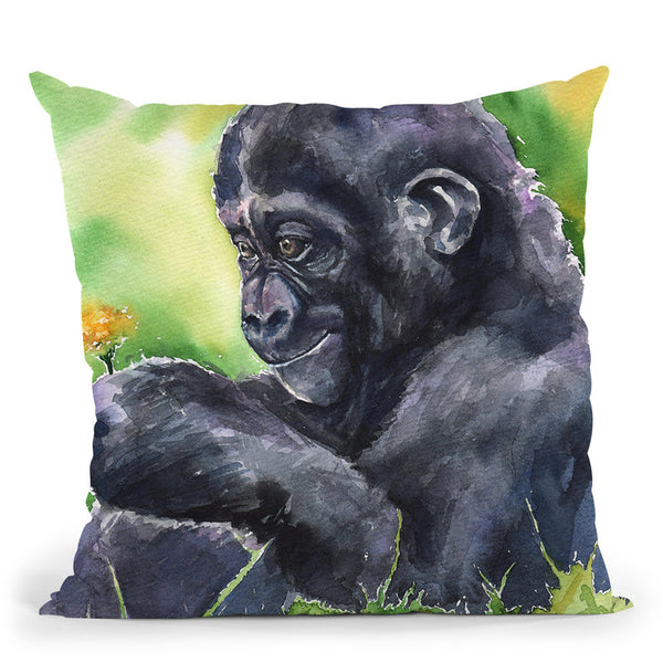 Gorilla Baby Throw Pillow By George Dyachenko