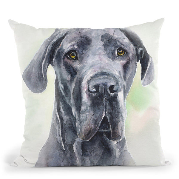 Grey Great Dane Throw Pillow By George Dyachenko