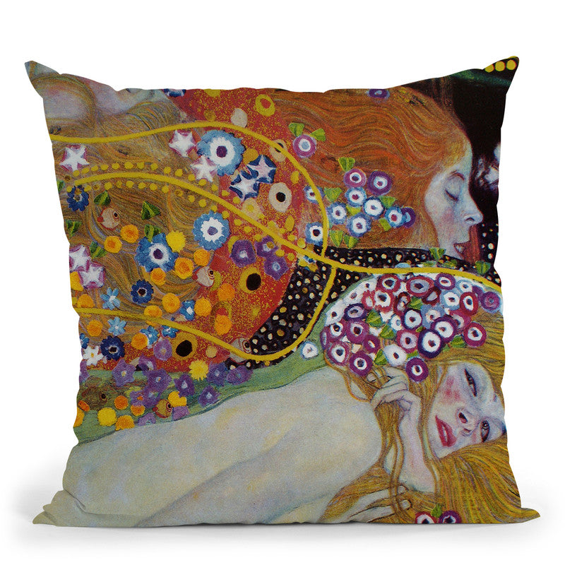 Water Serpents 1907 Throw Pillow By Gustav Klimt