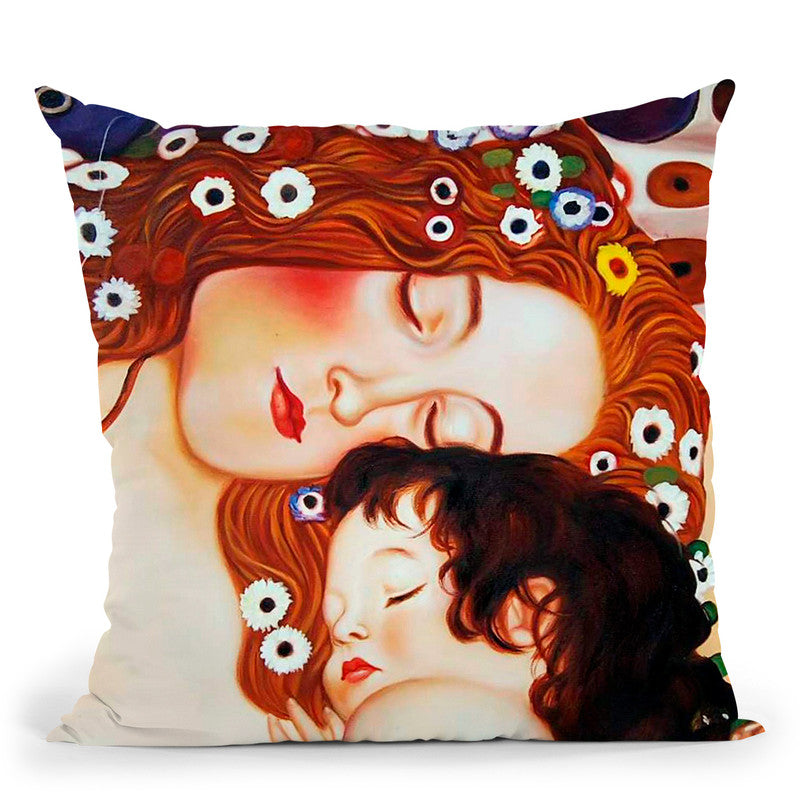Classic Mother And Child Throw Pillow By Gustav Klimt