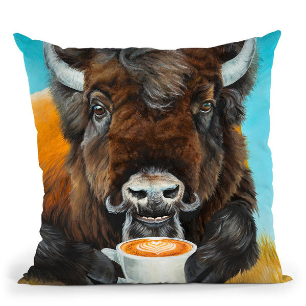 Bison Latte Throw Pillow By Holly Simental