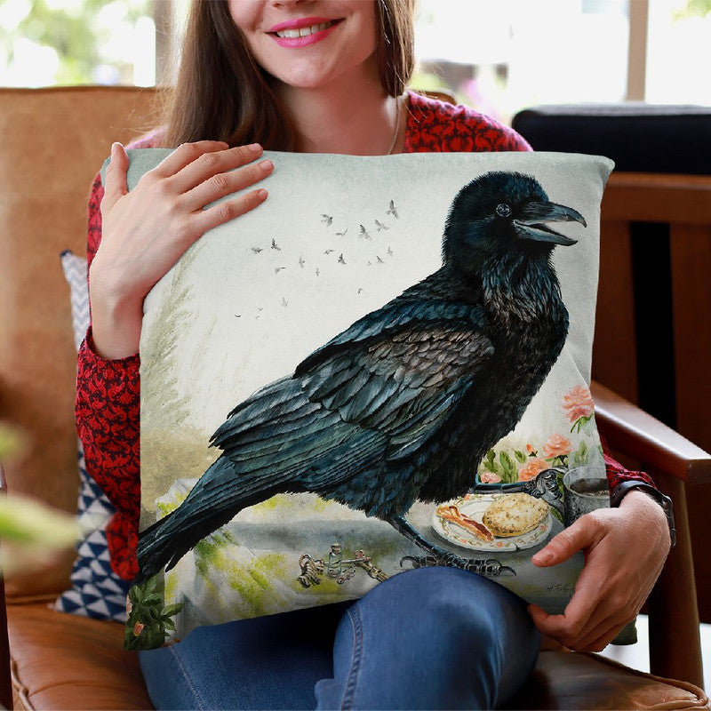 Breakfast With A Raven Throw Pillow By Holly Simental