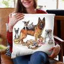 Coffee Dogs Throw Pillow By Holly Simental