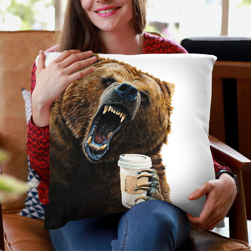 Grizzly Mornings Throw Pillow By Holly Simental