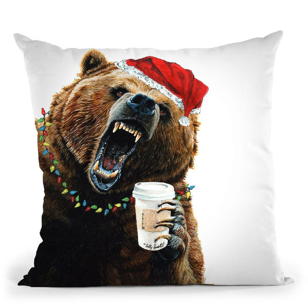 Grizzly Mornings Christmas Throw Pillow By Holly Simental